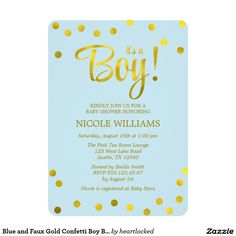 Pink and Faux Gold Confetti Girl Baby Shower X Invitation Card Custom Baby Shower Invitations, Baby Shower Invitations For Boys, Gold Confetti, Invitation Paper, Baby Store, Baby Boy Shower, Pink, Personalized Baby, Blue