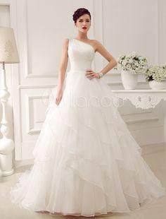 Popular Empire Elegant Rhinestone Organza u Tulle One Shoulder Neckline Ball Gown Wedding Dress