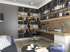 office dress designs for ladies Study Room Design, Home Library Design, Home Office Design, Home Office Decor, House Design, Home Desk, Home Office Space, Office Workspace, Pinterest Home