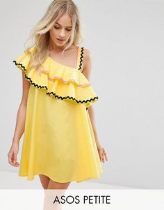 Buy it now. ASOS PETITE Rik Rak Trim Ruffle One Shoulder Sundress in Structured Cotton - Yellow. Petite dress by ASOS PETITE, Structured cotton, One-shoulder neck, Double ruffle overlay, Contrast trims, Loose fit � falls loosely over the body, Machine wash, 100% Cotton, Our model wears a UK 8/EU 36/US 4 and is 162.5cm/5'4 tall, Mini dress length between: 85-87cm. ABOUT ASOS PETITE 5�3�/1.60m and under? The London-based design team behind ASOS PETITE take all your fashion faves and cut t...