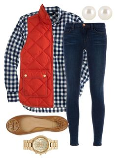 """Is it vest season yet?"" by preppy13 ❤ liked on Polyvore featuring J.Crew, J Brand, Tory Burch, Forever New and Henri Bendel"