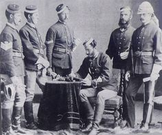 This is the earliest known photo of the NWMP, taken in 1874. The men are wearing the red serge jacket, which was militia issue in the 1860s.