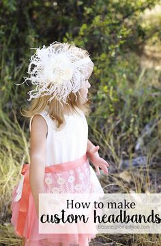 How to make a custom headband - this would be perfect for a wedding flower girl hairpiece Custom Headbands, Diy Baby Headbands, Vintage Headbands, Diy Headband, Hair Bow Tutorial, Fabric Flower Tutorial, Headband Tutorial, Headband Pattern, Diy Tutorial