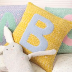 Beautiful hand knitted personalised initial nursery cushion comes in a range of fair isle pattern colours. Choose intial colour and cushion colour. Initial Cushions, Letter Cushion, Personalised Cushions, Knitted Cushions, Fair Isle Pattern, Etsy Uk, New Baby Gifts, Soft Furnishings, Nursery Decor