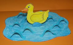 eend in het water (art lesson - creating texture, with paper) Step Kids, 4 Kids, Water Art, Book Themes, Animal Crafts, Spring Crafts, Kids Cards, Easter Crafts, Farm Animals
