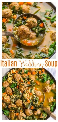 This Italian Wedding Soup Recipe is simply the best! Made with acini de pepe, beef and pork meatballs, carrots, celery, greens, and Parmesan cheese. This soup is SO flavorful! Serve with crusty bread and a glass of wine and enjoy! #weddingsoup #Italianweddingsoup #souprecipes #meatballsoup