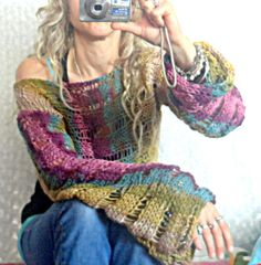 Hand Knit Cropped Sweaters Loose Knit Shrug Purple Ecru by MyAqua ... I would love this in a plain color