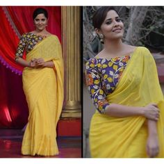Anasuya Bharadwaj in a Hand Painted Kalamkari Blouse teamed with yellow pure chiffon Saree from Team Teja.For orders/querieswhats Kalamkari Blouse Designs, Saree Blouse Neck Designs, Blouse Patterns, Kalamkari Saree, Kalamkari Blouses, Kalamkari Dresses, Silk Blouses, Indian Designer Sarees, Indian Designer Wear