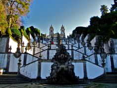 Portugal: Steps up to sanctuary, Bom Jesus do Monte (meaning Good Jesus of the Mount). Looking out onto the northern Portuguese city of Braga, this ancient chapel was constructed in 1373. #travel