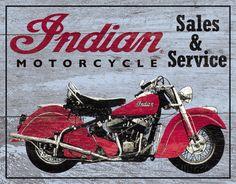 Indian Motorcycles Sales and Service Tin Sign Placa de lata