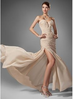 Special Occasion Dresses - $174.99 - Trumpet/Mermaid Sweetheart Sweep Train Chiffon Dress With Ruffle Beading Split Front  http://www.dressfirst.com