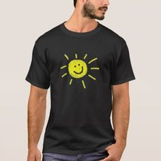 Shop Happy sunshine t-shirt created by Elsapozu. Happy Sunshine, 2nd Baby, Summer Tshirts, Baby Bodysuit, Printed Shirts, Mens Fashion, Casual, Shirt Print, Cotton