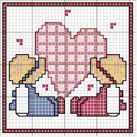 The angle of Malù Small Cross Stitch, Cross Stitch For Kids, Cross Stitch Bird, Cross Stitch Alphabet, Cross Stitch Charts, Cross Stitching, Cross Stitch Patterns, Embroidery Hearts, Cross Stitch Embroidery