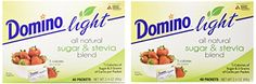 Domino Light All Natural Sugar and Stevia Blend Packets, pack of 3, 40 count each. Are you counting calories? Domino Light has half the calories as sugar and 2 grams of carbs per pack. 1 pack equals the sweetness of 1 teaspoon of sugar. You can take them with you wherever you go.