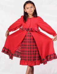 Girls Christmas Plaid Night Gown Peignoir Set