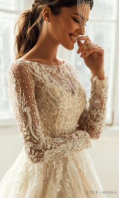 Long sleeves ball gown wedding dress with Crystal Embellishments on lace bodice and tulle skirt | Luce Sposa Wedding Dresses 2021- Charlotte - Belle The Magazine #weddingdress #weddingdresses #bridalgown #bridal #bridalgowns #weddinggown #bridetobe #weddings #bride #dreamdress #bridalcollection #bridaldress #dress See more gorgeous bridal gowns by clicking on the photo Lace Wedding, Dream Wedding, Wedding Dresses, Marry Me, Bride Dresses, Bridal Gowns, Alon Livne Wedding Dresses, Wedding Gowns, Wedding Dress