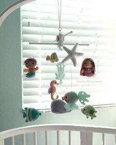 Free US Ship Musical Baby Mobile Mermaid Girl and Boy, Under the Sea Fish, Nautical, Ocean Theme Room, Crib Mobile, Modern Nursery Decor by GiftsDefine on Etsy https://www.etsy.com/listing/278554310/free-us-ship-musical-baby-mobile-mermaid
