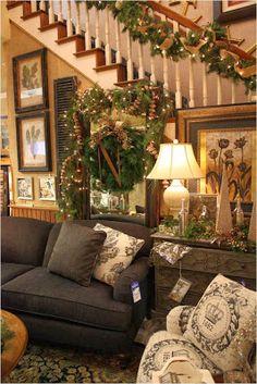 Simple Pleasures Big mirror + wreath + monogram= great Christmas arrangement!