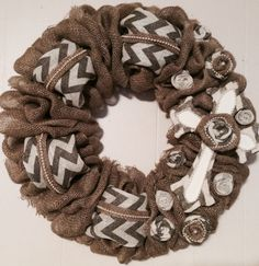 Burlap and Chevron Wreath with cross and rosettes