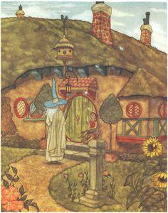 Gandalf at the Entrance of Bilbo's Hobbit Hole - Michael Hague