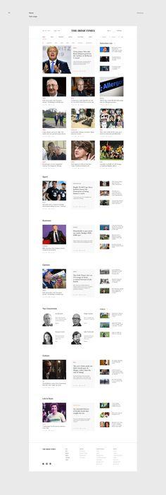 The Irish Times — News portal redesign concept on Behance Website Design Inspiration, Fashion Website Design, Corporate Website Design, Simple Website Design, Modern Website, Blond Amsterdam, Portal Website, Ui Website, Website Ideas