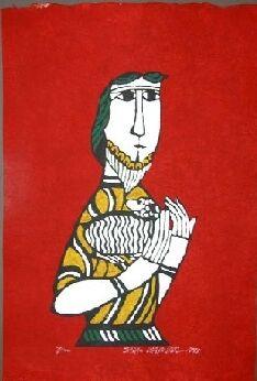 Japanese Art by the artist Sadao Watanabe | Christ the Good Shepherd 1993
