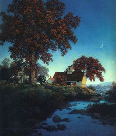 New Moon, Oil by Maxfield Parrish (1870-1966, United States)