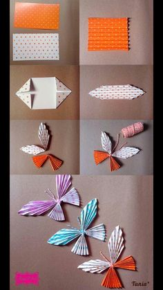 Simple but cute paper butterflies Origami And Quilling, Origami Butterfly, Paper Crafts Origami, Butterfly Crafts, Flower Crafts, Craft Stick Crafts, Fun Crafts, Crafts For Kids, Arts And Crafts