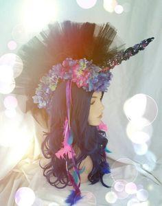 unicorn mowhawk rainbow cosplay headpiece flying V from space pamzylove.com