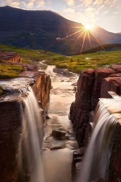 Triple Double Falls, Glacier National Park, Montana. by Miles Morgan #america #naturalwonder