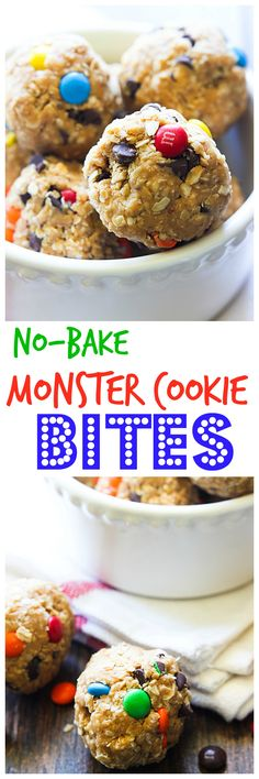 No-Bake Monster Cookie Bites are a great treat for when you have a sweet craving. They are not full of guilt, only delicious ingredients you have on hand!