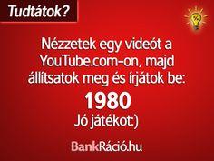 Nézzetek egy videót a YouTube.com-on, majd állítsátok meg és írjátok be: 1980 Fun Facts, Lol, Humor, Youtube, Humour, Funny Photos, Funny Facts, Funny Humor, Comedy