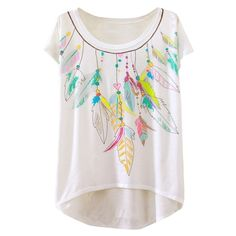 Chic Feather Pattern High Low Loose Fit Tee ($9.99) ❤ liked on Polyvore featuring tops, t-shirts, white, loose t shirt, cap sleeve t shirt, loose white top, loose fit tops and cap sleeve tee