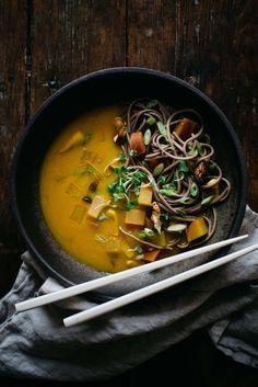 turmeric-miso soup w/ soba, shiitakes + turnips | dolly and oatmeal