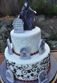 over the hill cake ideas Funny 50th Birthday Cakes, Halloween Birthday Cakes, Adult Birthday Cakes, 40th Birthday Parties, Birthday Ideas, 40 Birthday, Halloween Treats, Birthday Decorations, Fall Halloween