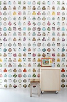 Blake's choice - Just Kids Wallpaper - Studio Ditte - Robot Wallpaper Sci Fi Wallpaper, Love Wallpaper, Wallpaper Awesome, Bedroom Wallpaper, Home Staging, Cool Robots, Kid Spaces, Boy Room, Child's Room