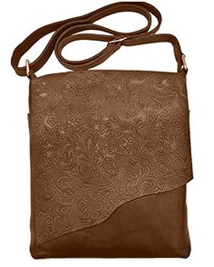Ili Leather 6542 Embossed Crossbody Handbag Toffee S