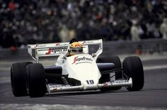 Ayrton Senna driving a Toleman-Hart in 1984. Only a master like Senna could get so much from a car like that.