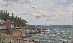 Ellen Favorin Rantamaisema Ahvenanmaalta Sea Art, Baltic Sea, Black And White Pictures, Finland, Painting, Women, Painting Art, Ocean Art, Paintings