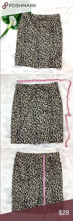 "J.Crew Factory ""The Pencil Skirt"" in Leopard J.Crew Factory ""The Pencil Skirt"" in Sateen Leopard print. Size 8. Measurements in photos. Pre-owned with no major flaws.  ❌I do not Trade 🙅🏻 Or model💲 Posh Transactions ONLY J. Crew Factory Skirts Pencil"