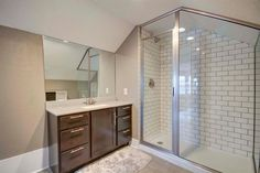Traditional 3/4 Bathroom with Verticyl Rectangular Undermount Bathroom Sink with Overflow, specialty tile floors
