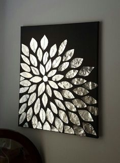 DIY wall art. Blank canvas, aluminum foil, and mod podge