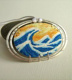 The Big Wave by Charuau Céline, via Flickr. Polymer clay and sterling silver.