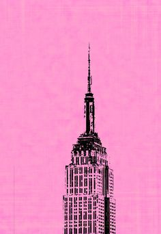 Empire State Building Pop Art on 16x24 Stretched Canvas, New York City, NYC, NY, Red, Blue, Yellow, Pink, Orange. $139.99, via Etsy.