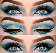 Gold lid and turquoise cut crease