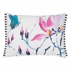 Madame Butterfly Peony Digitally Printed Linen Pillow by Designers Guild
