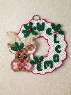 Handmade Plastic Canvas Christmas Reindeer by Pennyslittlestore
