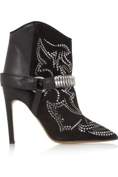 Isabel Marant|Milwauke studded suede and leather ankle boots|NET-A-PORTER.COM