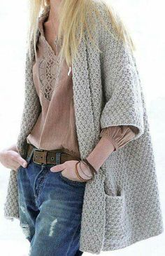 Moss Stitch Sleeves Jacket Knitting Pattern via Etsy. Crochet Cardigan Pattern, Knit Cardigan, Knitting Patterns, Knit Crochet, Handgestrickte Pullover, Modelos Plus Size, Moss Stitch, Knit Jacket, Sweater Jacket