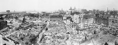 A panoramic view of bomb damage caused by the Liverpool Blitz. A panoramic view of the city of Liverpool, showing bomb damage received after an air raid. The Liver Building can be clearly seen just to the right of centre, and the River Mersey is just visible to the left of the photograph.